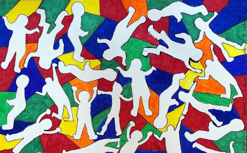 keith haring group work art lesson medium 500